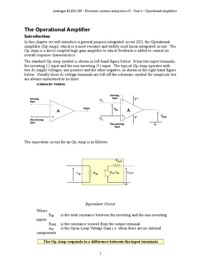 Elek1289 Unit4 Operational Amplifiers Amplifier Noninverting Analog Integrated Circuits Electronics