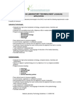 Medical Laboratory Technology Licensing Guidelines v 1.0 20081106