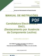 Manual da Candidatura - Destacamento por Ausência da Componente Lectiva