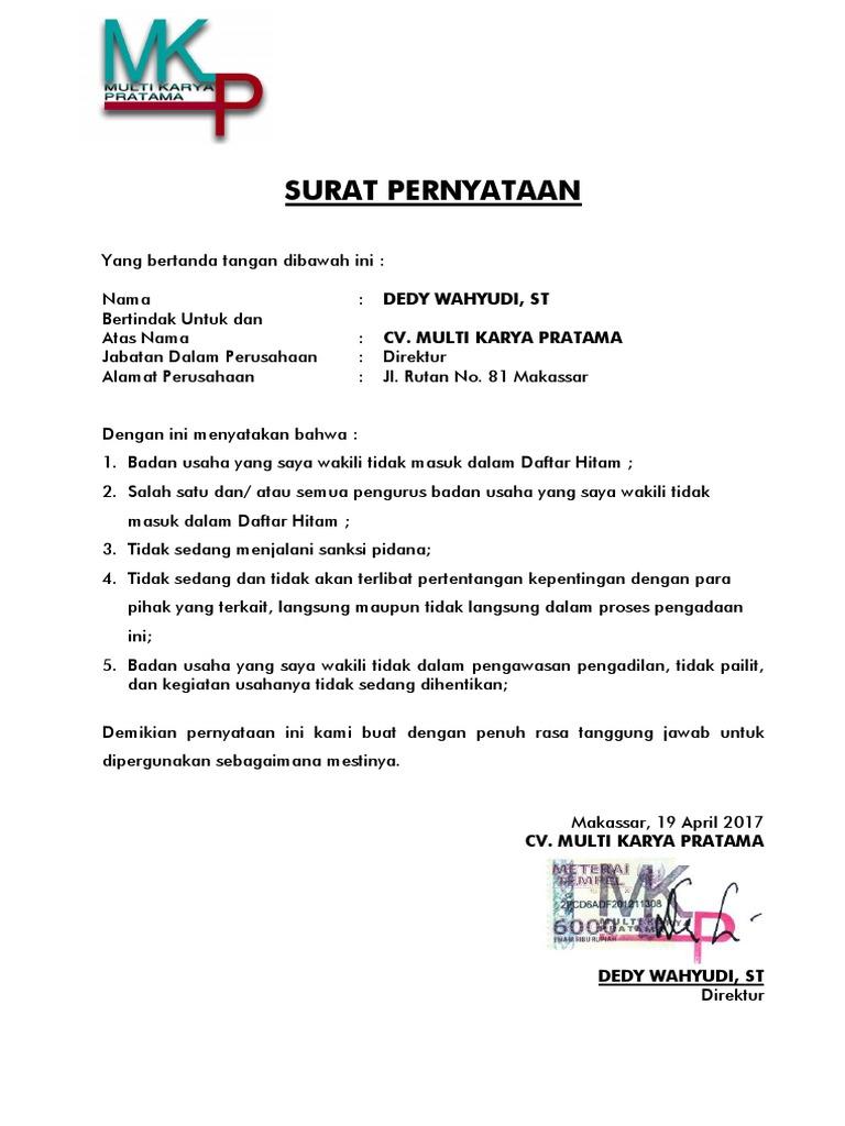 Surat Pernyataan CV. MKP