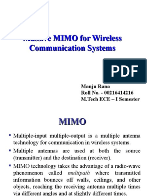 Massive MIMO- PPT Term Paper - Final | Mimo | Broadcasting
