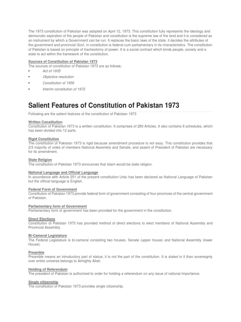 The 1973 Constitution of Pakistan Was Adopted on April 12