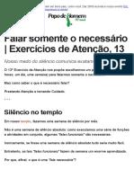 Falar Somente o Necessário _ Exercícios de Atenção, 13 – PapodeHomem