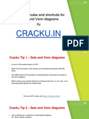 Sets and Venn Diagrams Formulas Cat PDF | Mathematical Objects