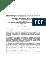 Proyecto Decreto de Presupuesto 2017