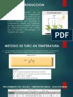 EVAPOTRANSPIRACION POR EL METODO DE TURC