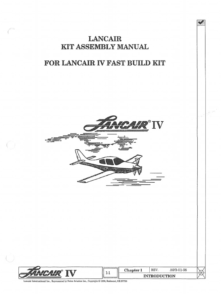 Lancair IV-P Build Manual | Homebuilt Aircraft | Experimental