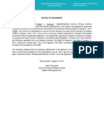 Estacio - Notice to the market 14.08