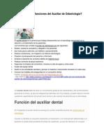 Cuáles Son Las Funciones Del Asistente de Odontología