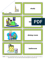 Parts of a House Esl Vocabulary Game Cards for Kids