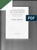 Giorgio Agamben. Lo Que queda de Auschwitz.