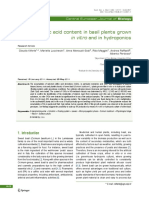 Rosmarinic Acid Content in Basil Plants Grown in Vitro and in Hydroponics