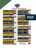 2017-18 New Orleans Pelicans Schedule