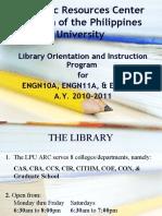 Arc Library Orientation 2010