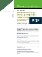 Introducción al dossier. Pasado y presente de las Ciencias de la Educación. Campo de producción académica y práctica profesional..pdf