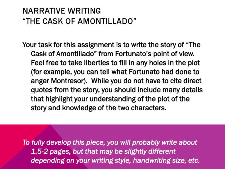 the cask of amontillado narrative essay