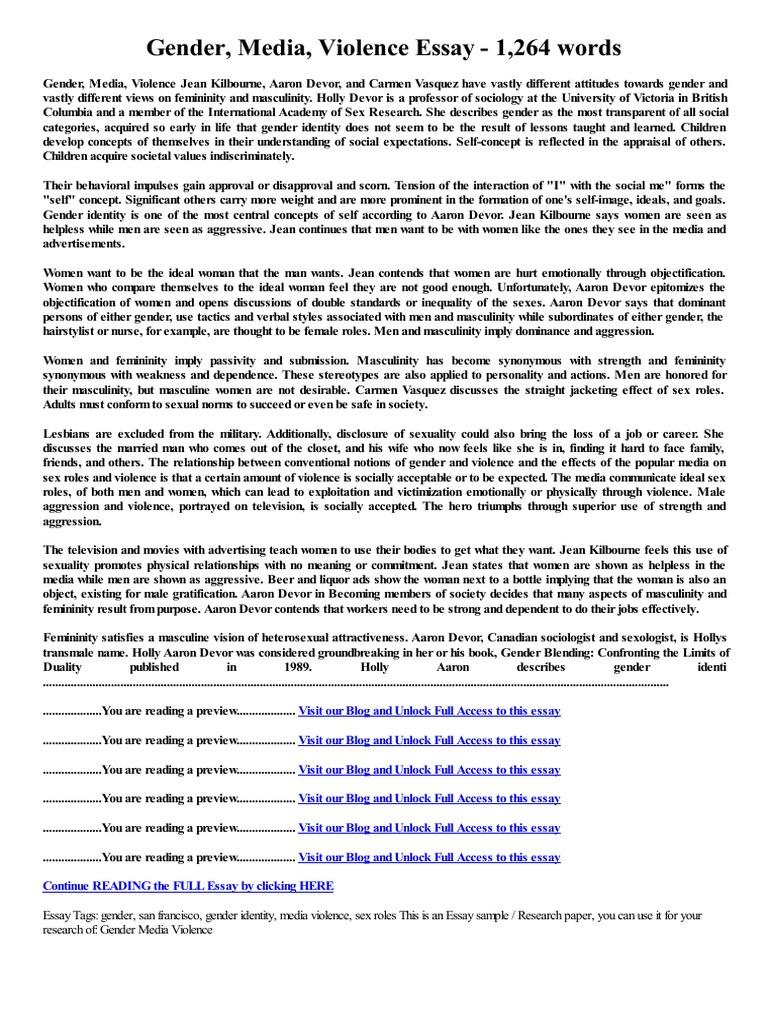 Proposal Essay Topic Ideas  Gay Marriage Essay Thesis also Graduating High School Essay Gender Media Violence Essay  Words  Gender Role  Masculinity Short English Essays