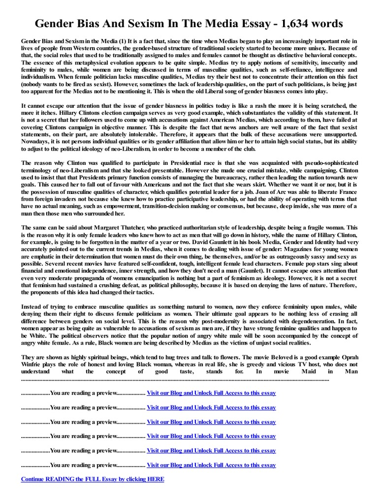 bias essay in an observation essay what is the role of author bias  gender bias and sexism in the media essay words sexism gender bias and sexism in the