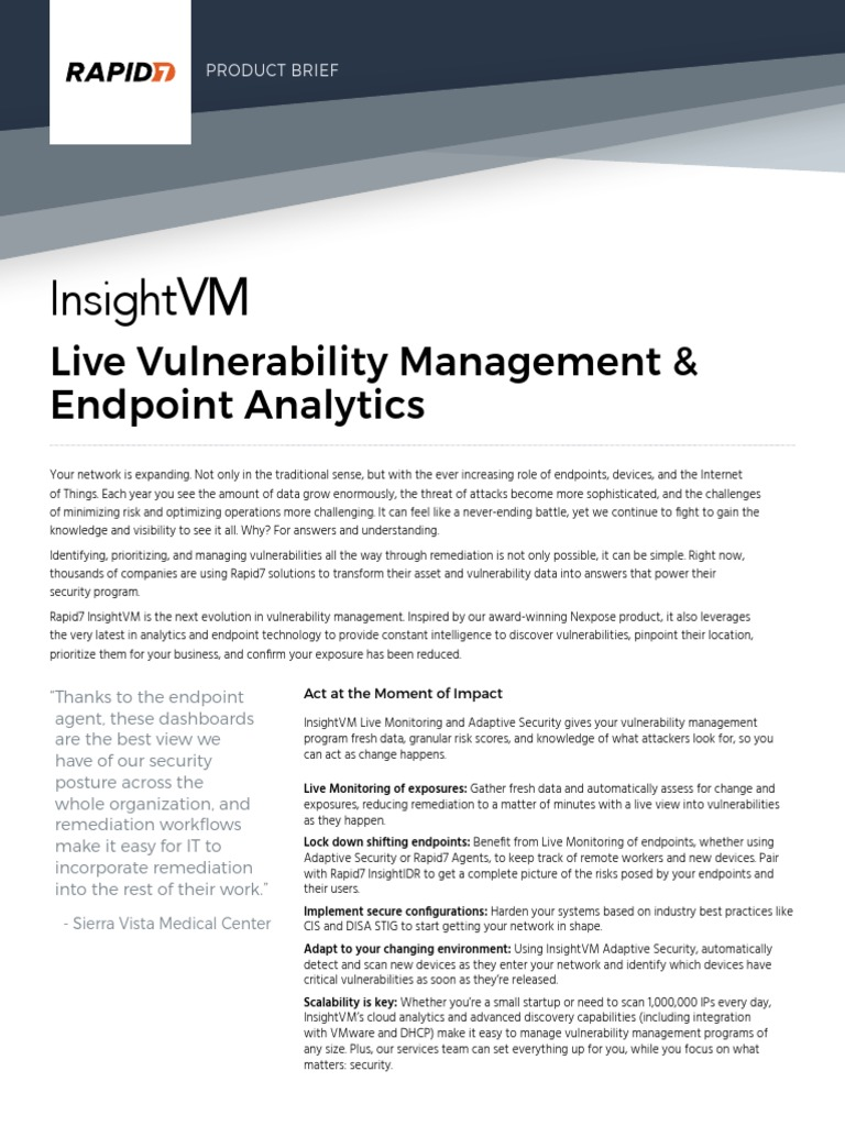 Rapid7 Insightvm Product Brief | Vulnerability (Computing