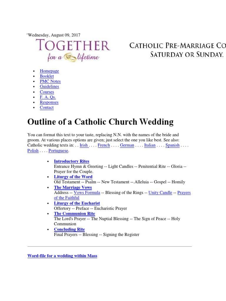 Nuptial Blessing Catholic Wedding