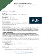 adv robotics syllabus