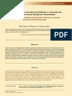 Importancia de La Actividad Antioxidante y Evaluacion de Extractos en Etanol Del Genero Oryctantus