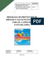 Programa de Prevención de Riesgos y Salud Ocupacional Para El Casino de Fantasilandia