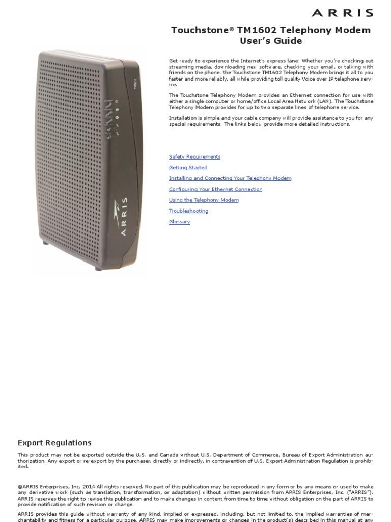 arris-tm1602a-userguide | Coaxial Cable | Modem