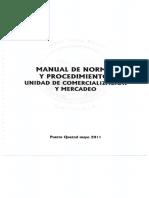 Manual de Normas y Procedimientos Unidad de Comercializacion y Mercadeo