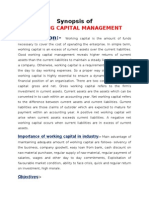 Synopsis of Working Capital Management of Nalco
