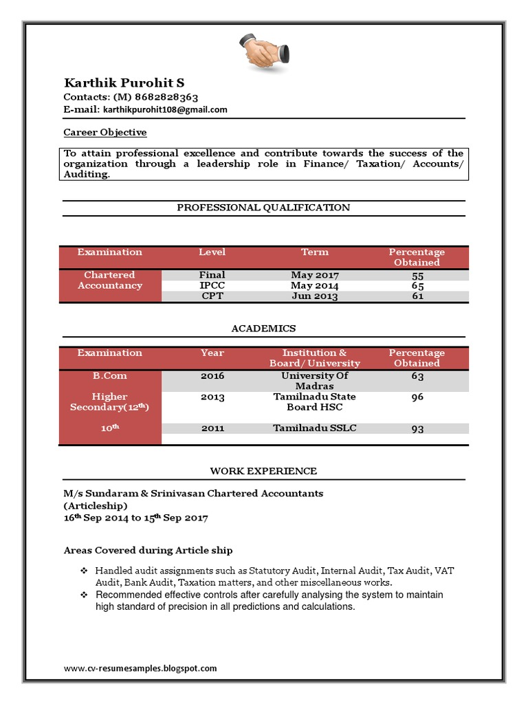 Fresher Chartered Accountant Resume Sample Doc Accounting