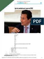 Lozoya Pagó 38 Mdp de Contado Por Casa en 2012