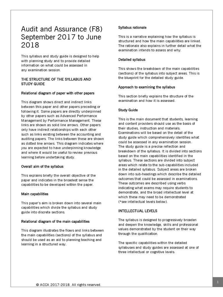 F8 - Study Guide (Sept 17 - Jun 18) - Updated 2.pdf | Internal Control |  Audit