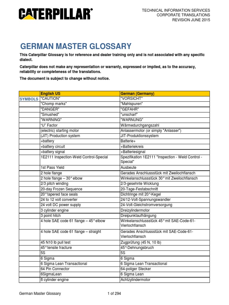 Caterpillar Master Glossary German | Mechanical Engineering ...