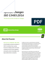 Changes to ISO 13485 2016