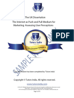 Masters Dissertation Full Sample Work | Tutors India