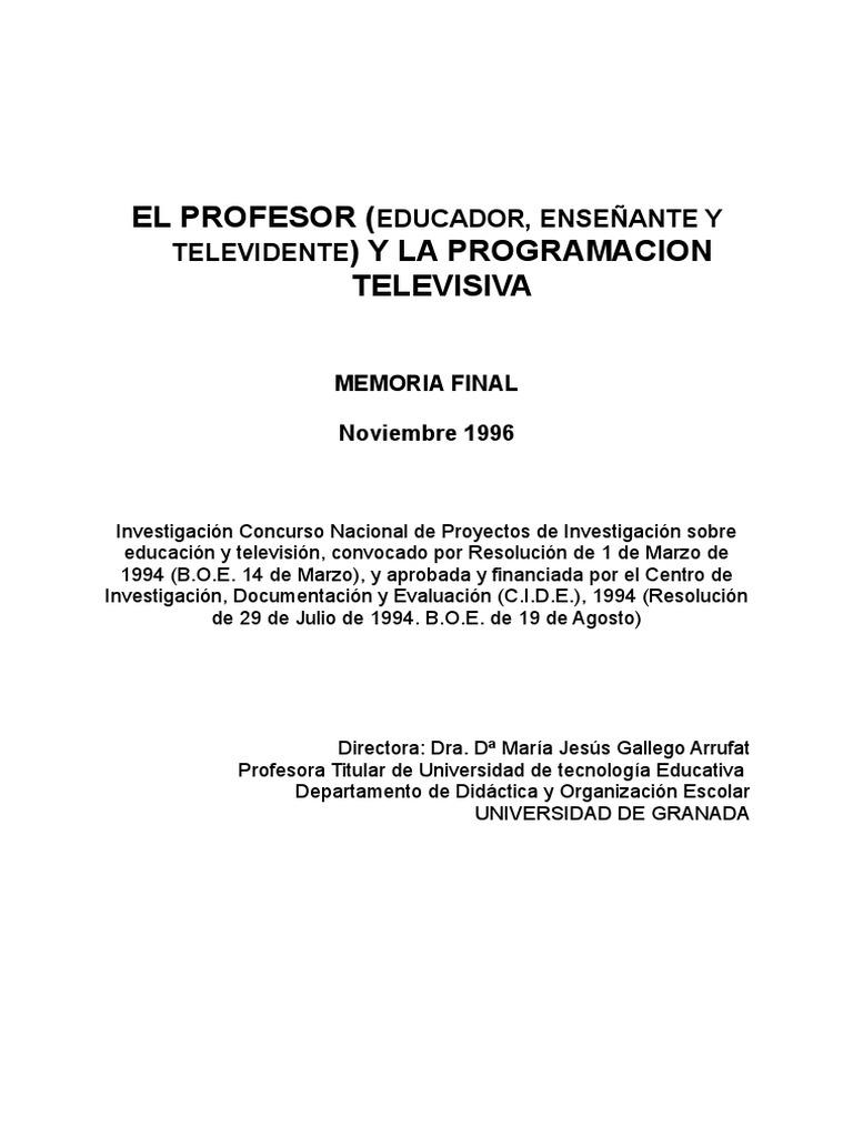 El Profesor y La Programación Televisiva