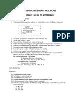 List of Computer Science Practicals