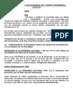 Monición Para El Xix Domingo Del Tiempo Ordinario - Ciclo A