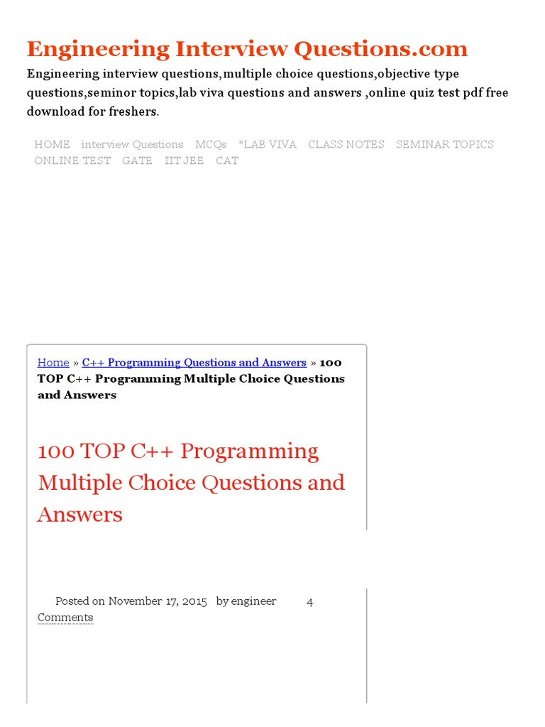 C Mcq Questions With Answers Pdf