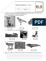3.-CN 5º Ano - Teste Diversidade Animal