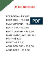 Preços de Bebidas