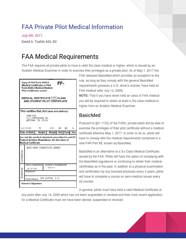 Faa Private Pilot Medical Information Civil Aviation Vehicle