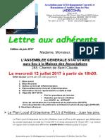 Lettre Aux Adherents Édition 30 Juin 2017