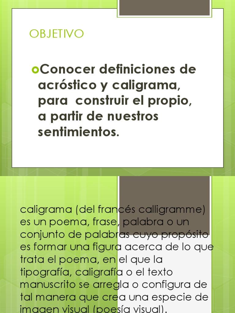 Acrostico Y Caligrama