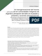 Losa y Otros. Transmision Transgeneracional Del Trauma Psicosocial en Comunidades Indigenas