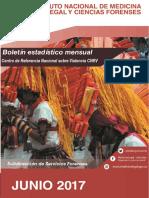 Boletín Estadístico Mensual Medicina Legal. Junio-2017