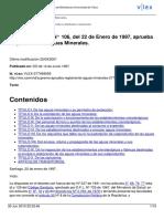 Decretro Supremo 106 Reglamento de Aguas Minerales