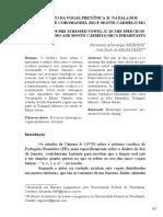 Alçamento Da Vogal Pretônica e Na Fala Dos Habitantes de Corodamandel - MG e Monte Carmelo - MG