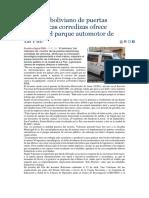 Inventor Boliviano de Puertas Electrónicas Corredizas Ofrece Mejorar El Parque Automotor de La Paz